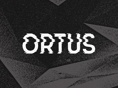 ORTUS white black distorted grunge glitch typo logo ortus