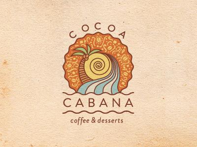 Cocoa Cabana  logo branding tropical palm three cocoa cabana wave coffee dessert ice cream