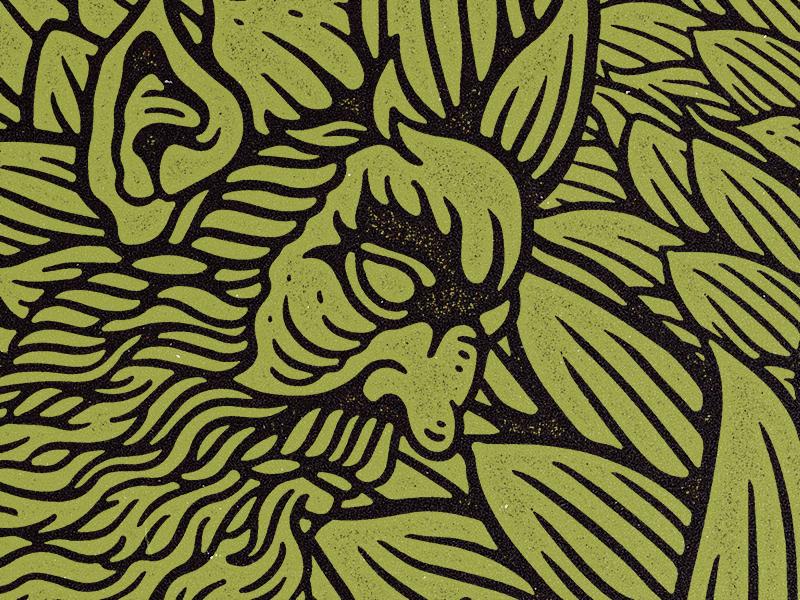 Deimos vintage grunge hops beard oladman man vizard brewery brew illustration deimos