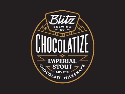 Blitz brewing Chocolatize lightning logo vintage lettering badge stout brewery beer brewing blitz