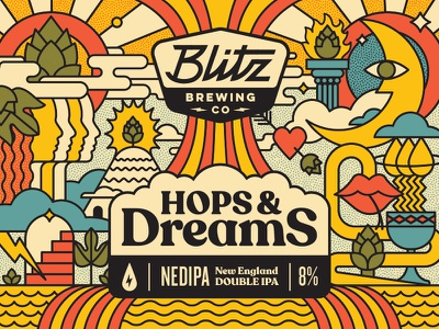 Hops and Dreams geometric label hop snake sun moon brewing brewery beer trip dreams hops
