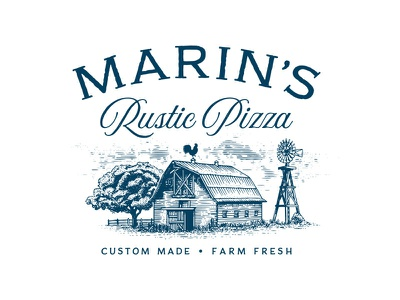 Marin's Rustic Pizza contry barn farm sanfrancisco vintage illusration logo restaurant pizza