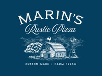Marin's Rustic Pizza rustic engraving countryside rooster barn farm vintage illustration logo restaurant pizza