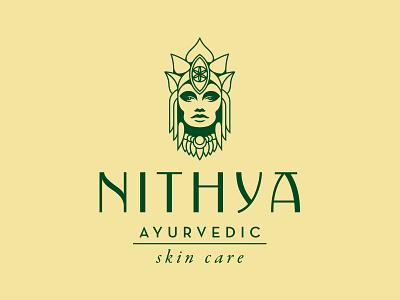 Nithya organic nature natural goddess lotus ayurveda cosmetic skincare logo