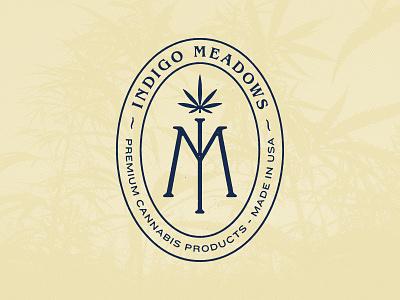 Indigo Meadows monogram vintage badge plant natural medical marihuana cannabis