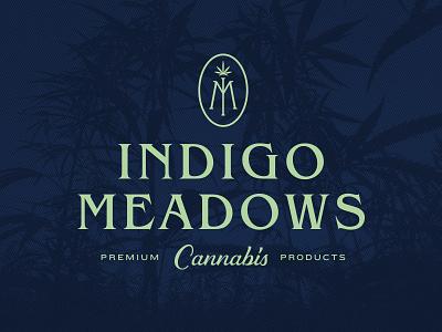 Indigo Meadows Cannabis natural plant monogram logo marihuana cannabis meadows