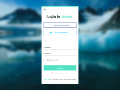 Daily 001 Sign In - Atlantic ux design ui design sign up sign in mobile app ocean atlantic ice blue mobile login dailyui