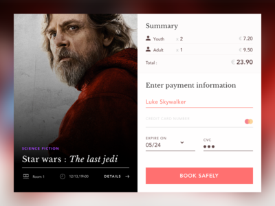 Daily 002 Checkout - Star wars : the last jedi star wars card red jedi skywalker ux ui design mastercard checkout dailyui