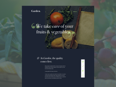 Daily 003 Landing Page - Garden. ui design start-up product leaf fruits vegetables green food garden desktop landing dailyui