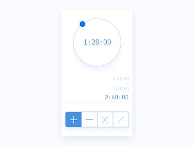 Daily 004 Calculator - Time calculator multiply subtract add time circle blue app ux ui design calculator dailyui
