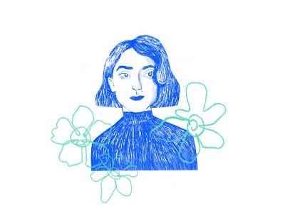 Self-portrait female portrait woman portrait young adult flower illustration digital drawing self avatar self-portrait illustration portrait