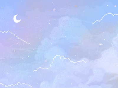 Dreamy cloudy sky cloudy stars twilight moon pastel dreamy starry sky night sky digital art illustration clouds