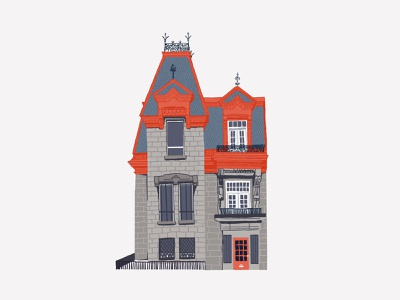Le Plateau house maison mtl neighbourhood quebec mont royal illustration architecture house le plateau montreal