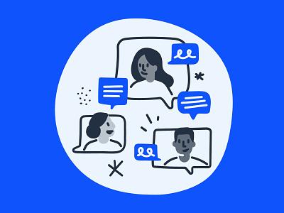 Team conversation workspace relationship peers sharing talking connection illustration colleagues teamwork collaboration feedback conversation team