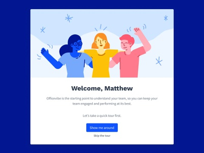 Welcome Message modal illustration wave introduction team welcome fte first time experience onboarding waving hello welcome screen welcome page