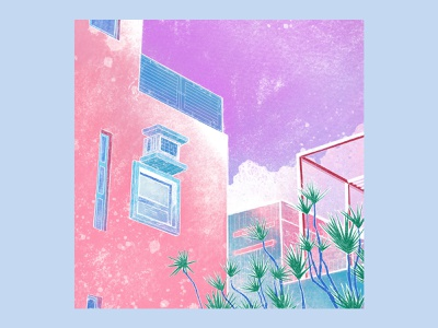Pastel City building summer house pink tropical architecture pastel urban city procreate digital art illustration