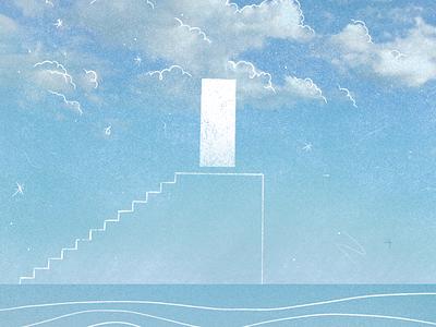 The Truman Show minimal truman show movie still illustration doorway starry sky exit portal staircase horizon cloudy clouds ocean sky jim carrey