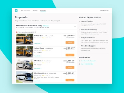 Proposals v2 web ui travel transportation quote proposals pricing bus.com bus