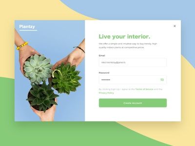 Daily UI 001 - Sign Up daily ui 001 create account sign up daily ui ui succulent plantzy modal plant