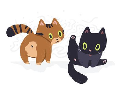 Cats! lick butt meow kitten cute illustration cats cat