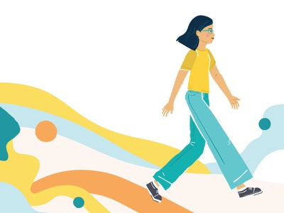 Your Day at Bus.com vector art walking shapes abstact illustration