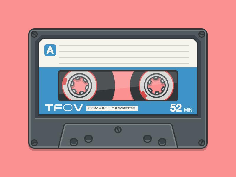 Compact Cassette vintage sketch vector flat illustration simple 2d music cassette tape freebie