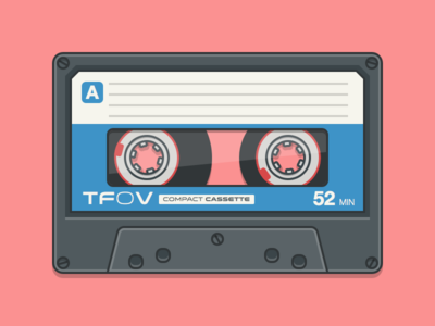 Compact Cassette vintage sketch vector flat illustration simple 2d music cassette tape freebie