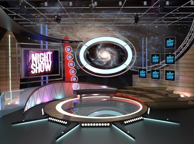 3d Virtual TV Studio-Talkshow tv branding media studio television stage design illustration broadcast 3d
