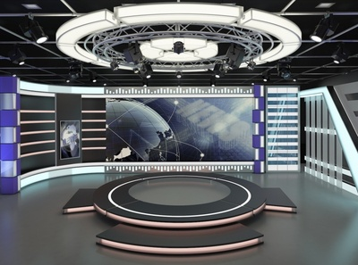 3d Virtual TV Studio News Set 7 light studio illustration stand design media television broadcast stage 3d
