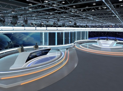 3d Virtual TV Studio News Set 35 tv cnn stage studio media illustration design television broadcast 3d