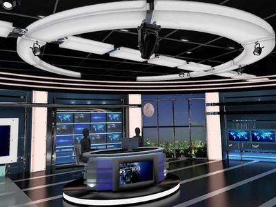 3D Virtual TV Studio News Set 27 interior live stage television broadcast tv news orad vizrt viz set studio