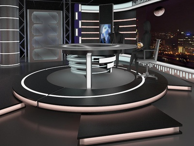 3D Virtual TV Studio News Set 11 desk chair show station cable channel television studio light camera broadcast stage