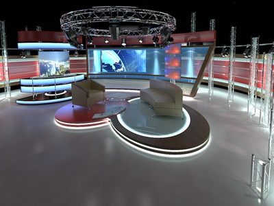 3D Virtual TV Studio Chat Set 1 broadcast monitor digital imaging communication lamp studio stage set virtual illustration 3d