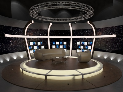 3D Virtual TV Studio Chat Set 20 visualization green television show television set talk chat c4d after effects 3d