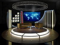 3D Virtual TV Studio Chat Set 19