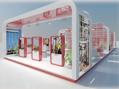 3D Exhibition Stand 31 display popup expo presentation show test advertisement light exhibition stand fair 3d