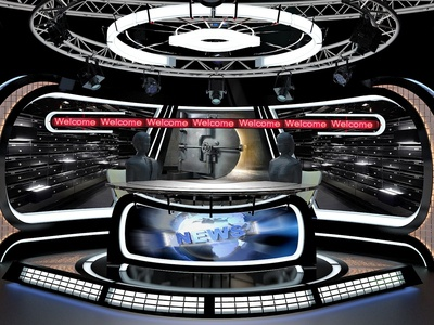 3D Virtual TV Studio News Set 34 exhibition podium furniture sports collection fox nbc abc cnn production media design television stage broadcast newsset tvset studio tv 3d