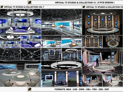 3D Virtual TV Studio Sets - Collection Vol 13 - 8 PCS DESIGN max 3ds set real live sports channel bbc cnn broadcast studio world anchor spot light stage podium news television tv
