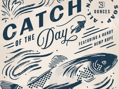 Catch Of The Day fishing vintage lockup illustration fish packaging typography