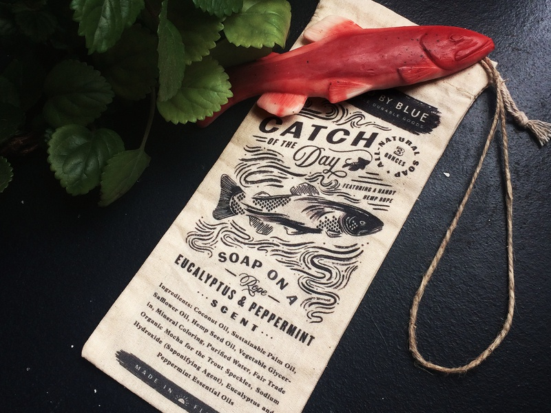 Catch of the Day Soap Bag trout bag typesetting vintage lockup illustration soap fish packaging