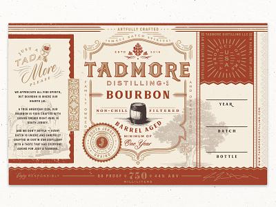 Tadmore Distilling Co. Bourbon Label vintage distillery illustration typography branding packaging label bourbon whiskey