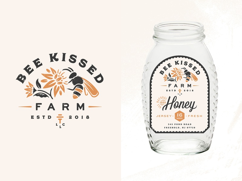 Bee Kissed Farm flowers bees honey packaging label small business farm logo branding