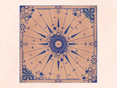 Bee Hive Bandana united by blue spring illustration modern geometric flowers honeycomb bee hive bee bandana
