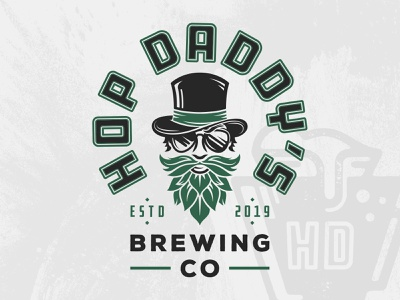 HOP Daddy's Brewing Co. pennsylvania sunglasses hops beard top hat character logo brewery logo identity branding beer brewing brewery