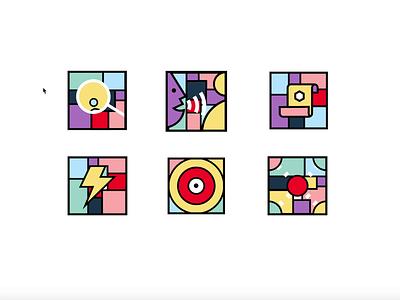 VBS Illustrations Animated illustraion mosaic colours mondrianism
