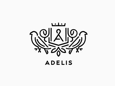 Adelis hawk heraldic logo linecraft falcon a crown shield