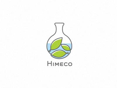 Himeco(for sale) leaf chemistry logo mark bulb boiling flask eco