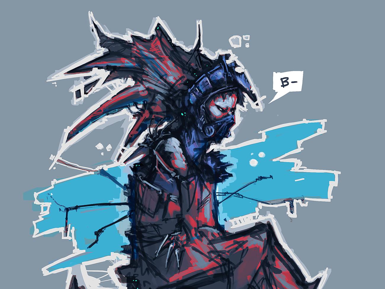 b-negative character cyberpunk scifi
