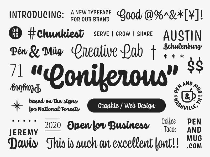 New typeface for P&M! pen coffee austin mug nashville fun script chunky ohno coniferous branding logo typography typeface font