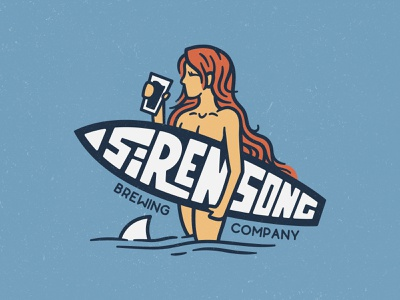 Siren Song Brewing Co. microbrewery seltzer mockups shark san diego craft beer handdrawn branding logo typography ocean woman logo surf logo brewery logo beer logo surfer siren weekly logo challenge beer branding brewing company